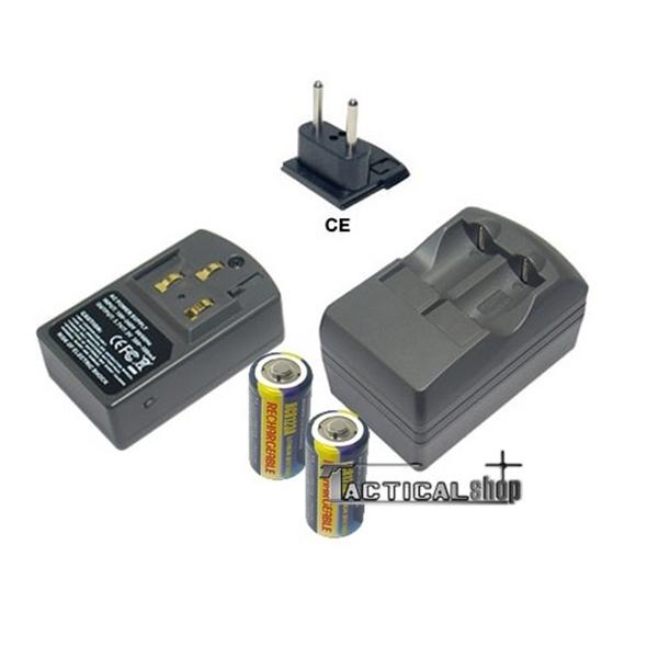 Picture of Φορτιστής και επαναφορτιζόμενες μπαταρίες CR123 λιθίου σετ
