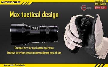 Εικόνα της Φακός Led Nitecore Precise P20 Tactical Strobe Ready 800 Lumens