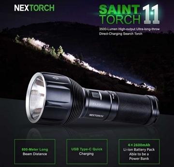 Εικόνα της Επαναφορτιζόμενος Φακός Nextorch Saint Torch 11 3500 lumens