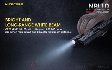 Εικόνα της Nitecore NPL10 Tactical Pistol Laser & Flashlight