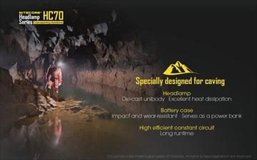 Εικόνα της Φακός Κεφαλής Nitecore HC70 Caveman
